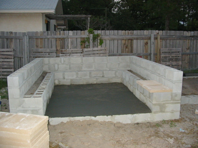 House for Cinder block seating area